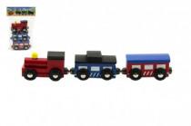 Vláček s vagóny na magnety 3ks 7cm dřevo