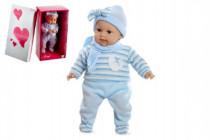 Panenka/miminko Arias vonící 45cm modré šaty plačící měkké tělo na baterie