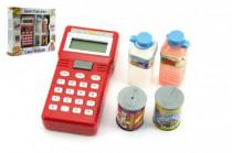 Ruční pokladna se skenerem + potraviny plast na baterie v krabici 25x22 cm