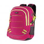 Easy flow 837993 Batoh školní tříkomorový, růžový, žluté zipy, profilovaná záda, 26 l