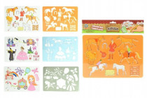 Kreslící šablony koně plast 27x19cm - mix variant či barev
