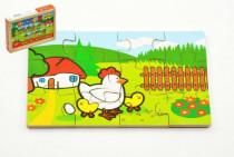 Puzzle dřevěné Moje první zvířátka 4x12 dílků v dřevěné krabičce 24m+ MPZ