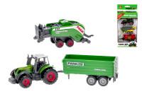 Traktor kov 8 cm s vlečkami 2 ks volný chod - mix variant či barev