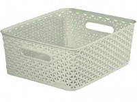 "box úložný RATTAN 35x30x13cm (M),""Y"" STYLE, plastový, KRÉM"