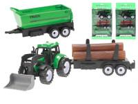 Traktor nakladač 17 cm na setrvačník + 2 vlečky - mix variant či barev