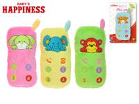 Chrastítko plyšové telefon 12 cm se zvířátkem Baby\'s Happiness - mix barev