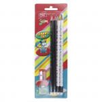 Set 4 trojhranné tužky s gumou HB a ořezávátko