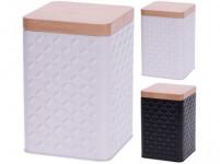 dóza plech. čtvercová 10,7x10,7x16cm BÍ, ČER, víčko dřev. dekor