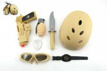 Vojenský set s helmou/přilbou plast