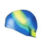 Spokey Abstract plavecká čepice silikonová modrá se žlutým pruhem
