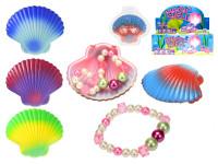 Náramek perlový 8x6 cm s mušlí - mix barev