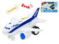 Letadlo dopravní 20 cm 1:200 na setrvačník na baterie se světlem a zvukem - mix variant či barev
