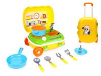 Kufřík na kolečkách/kuchyňka s nádobím 2 v1 žlutá