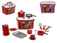Přenosný kuchyňský set Iriska - sporák s nádobím - mix barev