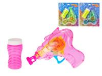 Bublifukovač pistole 15 cm 60 ml na setrvačník na baterie svítící - mix barev
