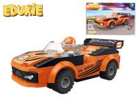 EDUKIE stavebnice auto závodní oranžové na zpětný chod 119 ks + 1 figurka