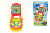 Krtkův mobil telefon měnící obrázky Krtek oranžový plast se světlem a se zvukem v krab.12x21x5cm 6m+