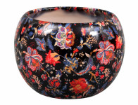 Obal na květník MANES FLOWER keramický černý lesklý d13x14cm