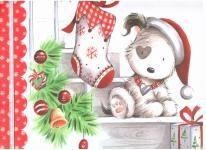 Dárková taška DXA vánoční - pejsci