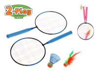 Badmintonové rakety 44x22 cm 2 ks s košíčky 2 ks - mix barev