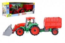 Auto Truxx traktor nakladač s přívěsem na seno s figurkou 24m+