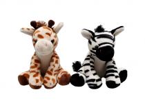 Plyšové safari 22 cm (zebra, žirafa)
