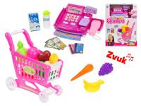 Elektronická pokladna 21x14 cm + nákupní vozík a potraviny na baterie se zvukem