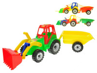 Traktor s vlečkou a nakladačem 60 cm - mix barev
