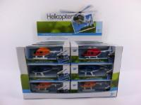 Vrtulník/Helikoptéra kov/plast 10cm - mix barev