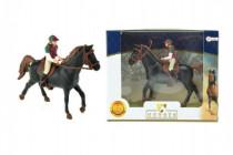 Kůň + žokej plast 13cm