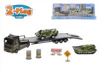 Vojenský transporter 1:60 kov s obrněnými vozidly 2 ks 2-Play
