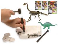 Dinosaurus 17 cm a zkamenělina v sádře s dlátem, kladívkem a štětcem - mix variant či barev