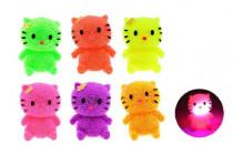 Míček gumový chlupatý kočka antistresový svítící plast 7cm - mix barev