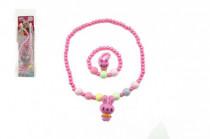 Náhrdelník a náramek korálky perleťové plast 15cm - mix variant či barev