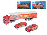 Sada hasičská vozidla kov 3 ks 7-20 cm volný chod - mix variant či barev