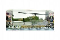 Vrtulník/Helikoptéra vojenská plast 18cm na baterie se světlem se zvukem - mix barev
