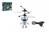 Vrtulníkový robot létající plast 13x11cm s USB kabelem na nabíjení svítící - mix barev