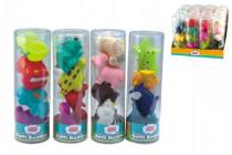 Stříkací figurky zvířátka/dopravní prostředky do vany 4ks gumová v tubě - mix variant či barev
