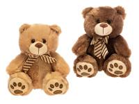 Medvěd plyšový 25 cm sedící s mašlí - mix barev