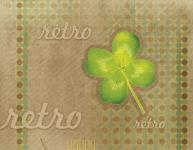 Balicí papír 100 x 70 cm 2 ks, RETRO-čtyřlístek, DITIPO