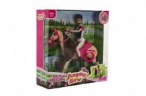 Kůň česací hýbající se + panenka žokejka Anlily plast