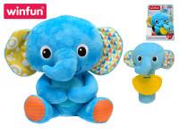 Plyšový kamarád 21 cm slon sedící s chrastítkem a kousátkem slůně 16 cm